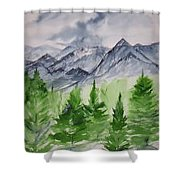 Ruidoso Nm Southwestern Mountain Landscape Watercolor Painting Poster Print Shower Curtain
