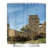 Ruined Building And Restored Church At Occi In Corsica Shower Curtain