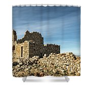 Ruined Stone Building At Occi In Corsica  Shower Curtain