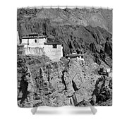 Ruins And Basgo Monastery Surrounded With Stones And Rocks Ladakh Shower Curtain