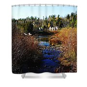 Ruins In Autumn Shower Curtain