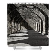 Ruins Of San Jose-black And White Shower Curtain