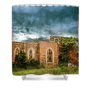 Ruins Under Stormy Clouds Shower Curtain