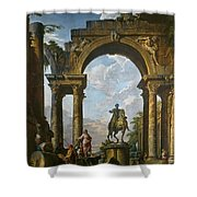 Ruins With The Statue Of Marcus Aurelius Giovanni Paolo Panini Shower Curtain