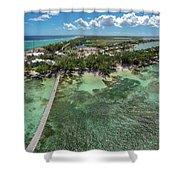 Rum Point Beach Panoramic Shower Curtain
