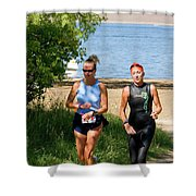 Runners At The 24 Hours Of Triathlon Shower Curtain
