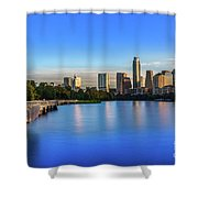 Runners, Joggers And Bikers Take An Early Morning Stroll On The The Boardwalk Trail Shower Curtain