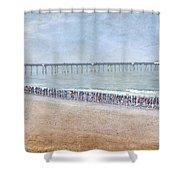 Runners On The Beach Panorama Shower Curtain