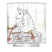 Running Cyclist Cheep Shower Curtain