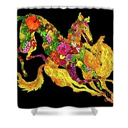 Running Dogs Black Shower Curtain