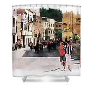 Running Of The Bulls Shower Curtain
