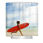 Running With Surfboard Shower Curtain