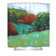 Rural Autumn Landscape Shower Curtain