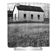 Rural Church Black And White Shower Curtain