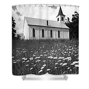 Rural Church In Field Of Daisies Shower Curtain