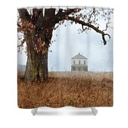Rural Farmhouse And Large Tree Shower Curtain