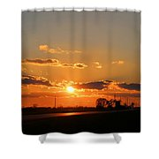 Rural Il Sunset Reflections Shower Curtain