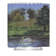 Rural Landscape Painting Of Bauer Farm Shower Curtain