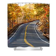 Rural Road Running Along The Maple Trees In Autumn 2 Shower Curtain