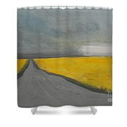 Rural Road Trough Canola Field Shower Curtain