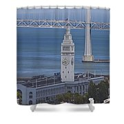 Rush Hour Above The Ferry Building Shower Curtain