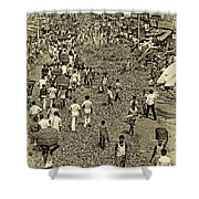 Rush Hour - Antique Sepia Shower Curtain