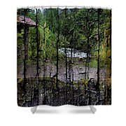 Rushing Cascade In The Andes - On Bark Shower Curtain