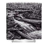 Rushing Stream - Bw Shower Curtain