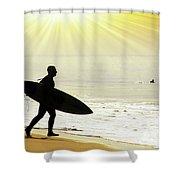 Rushing Surfer Shower Curtain