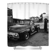 Russel Farms 1951 Ford F100 Black And White Shower Curtain