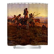 Russell Charles Marion In The Wake Of The Buffalo Hunters Shower Curtain