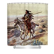 Russell Charles Marion Indian With Spear Shower Curtain