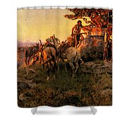 Russell Charles Marion Watching For Wagons Shower Curtain