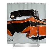Russell Train Snow Plow Shower Curtain