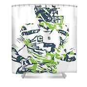Russell Wilson Seattle Seahawks Pixel Art 10 Shower Curtain