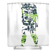 Russell Wilson Seattle Seahawks Pixel Art 11 Shower Curtain