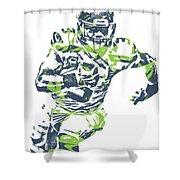 Russell Wilson Seattle Seahawks Pixel Art 12 Shower Curtain
