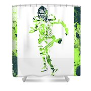 Russell Wilson Seattle Seahawks Water Color Art 1 Shower Curtain