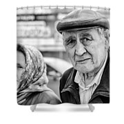 Russian Pensioners Looking At Camera Shower Curtain
