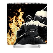 Russian Soldier Statue In Snow And Fire Shower Curtain