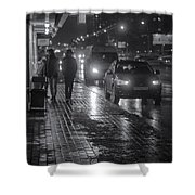 Russian Street Scene At Night 2015 Shower Curtain