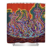 Russian Tea And Coffee Set Shower Curtain