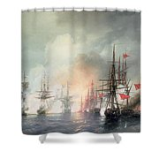 Russian Turkish Sea Battle Of Sinop Shower Curtain by Ivan Konstantinovich Aivazovsky