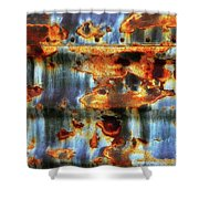 Rust And Blue Shower Curtain