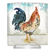 Rust Rooster Shower Curtain