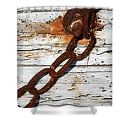 Rusted Chain On Driftwood Shower Curtain