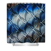 Rusted Fence With Blue Paint Shower Curtain
