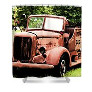 Rusted Mack Fire Engine Shower Curtain