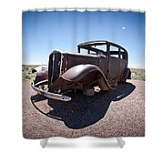 Rusted Old Car On Route 66 Shower Curtain