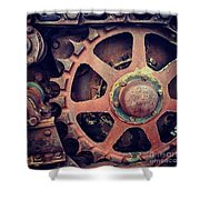 Rusted Tractor Wheel Shower Curtain